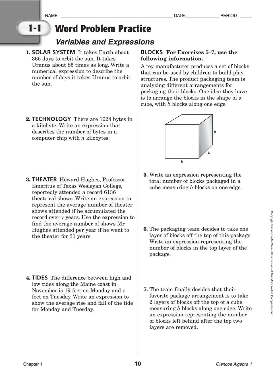 Variables and Expressions Worksheet Answers
