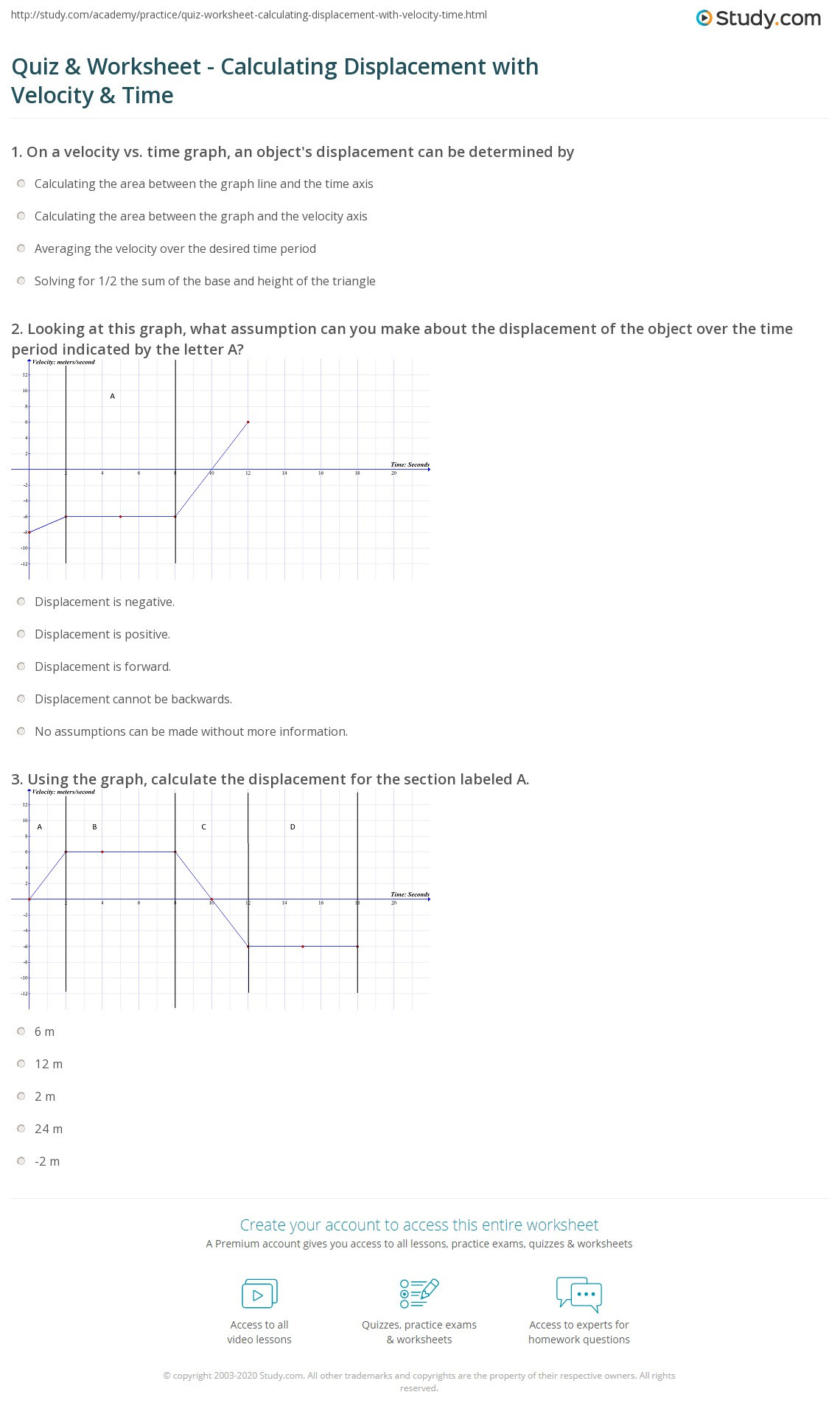 Velocity Time Graph Worksheet Answers