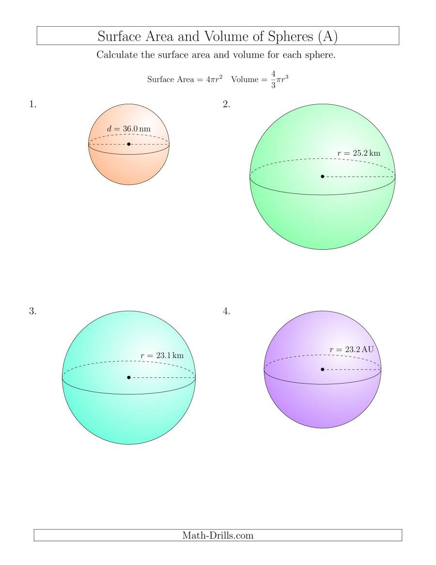 Volume and Surface Area of Spheres e Decimal Place A