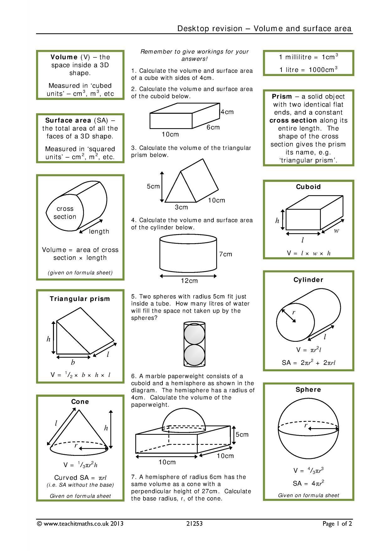 Volume Of Spheres Worksheet