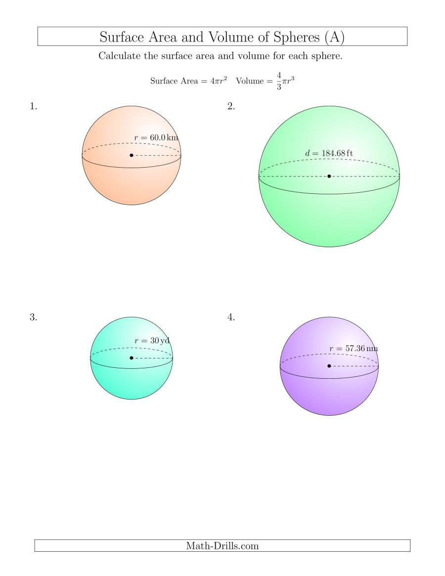 Volume Of Spheres Worksheet