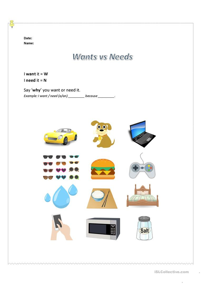 Wants and Needs Worksheet