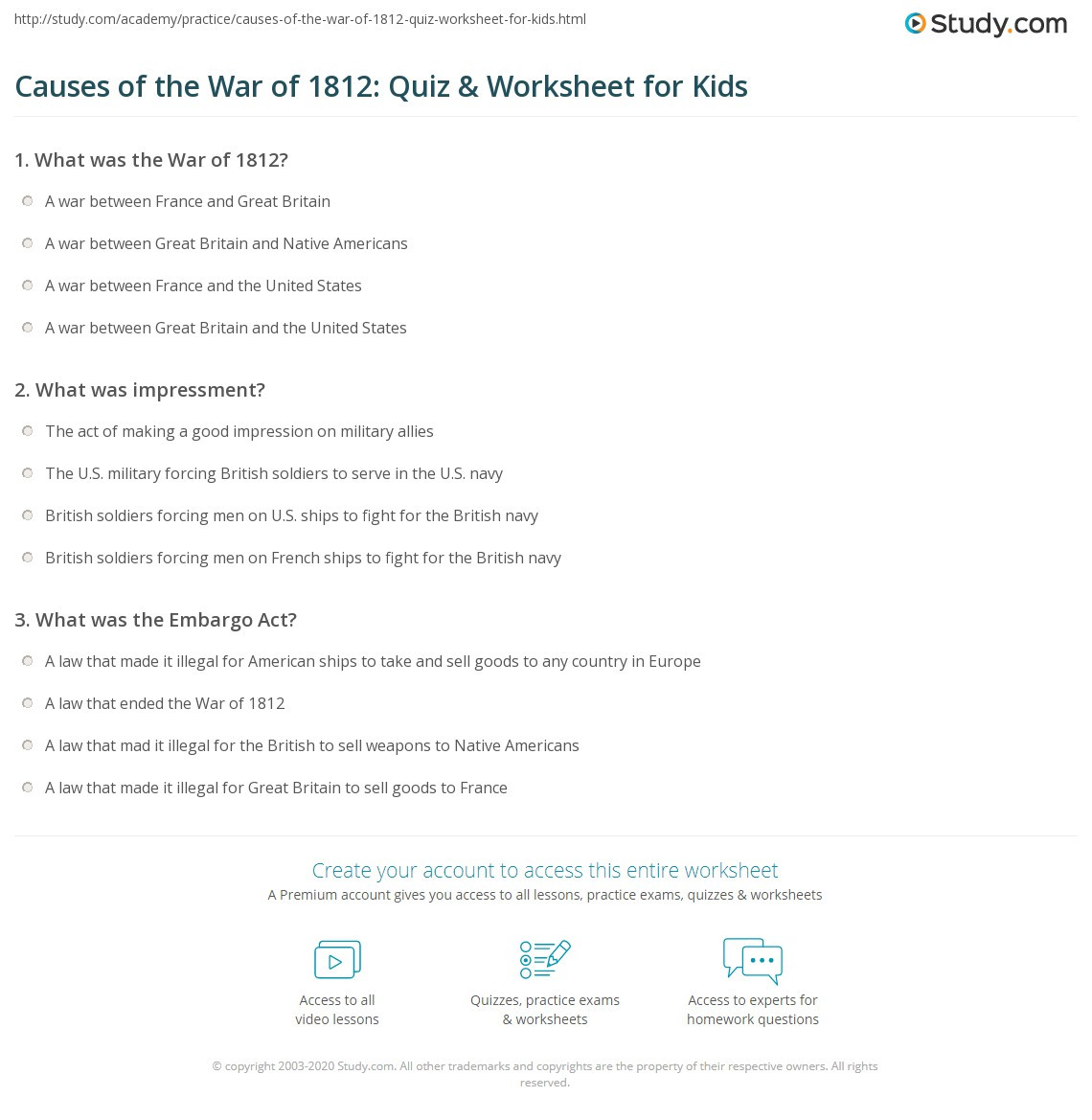 Causes of the War of 1812 Quiz & Worksheet for Kids