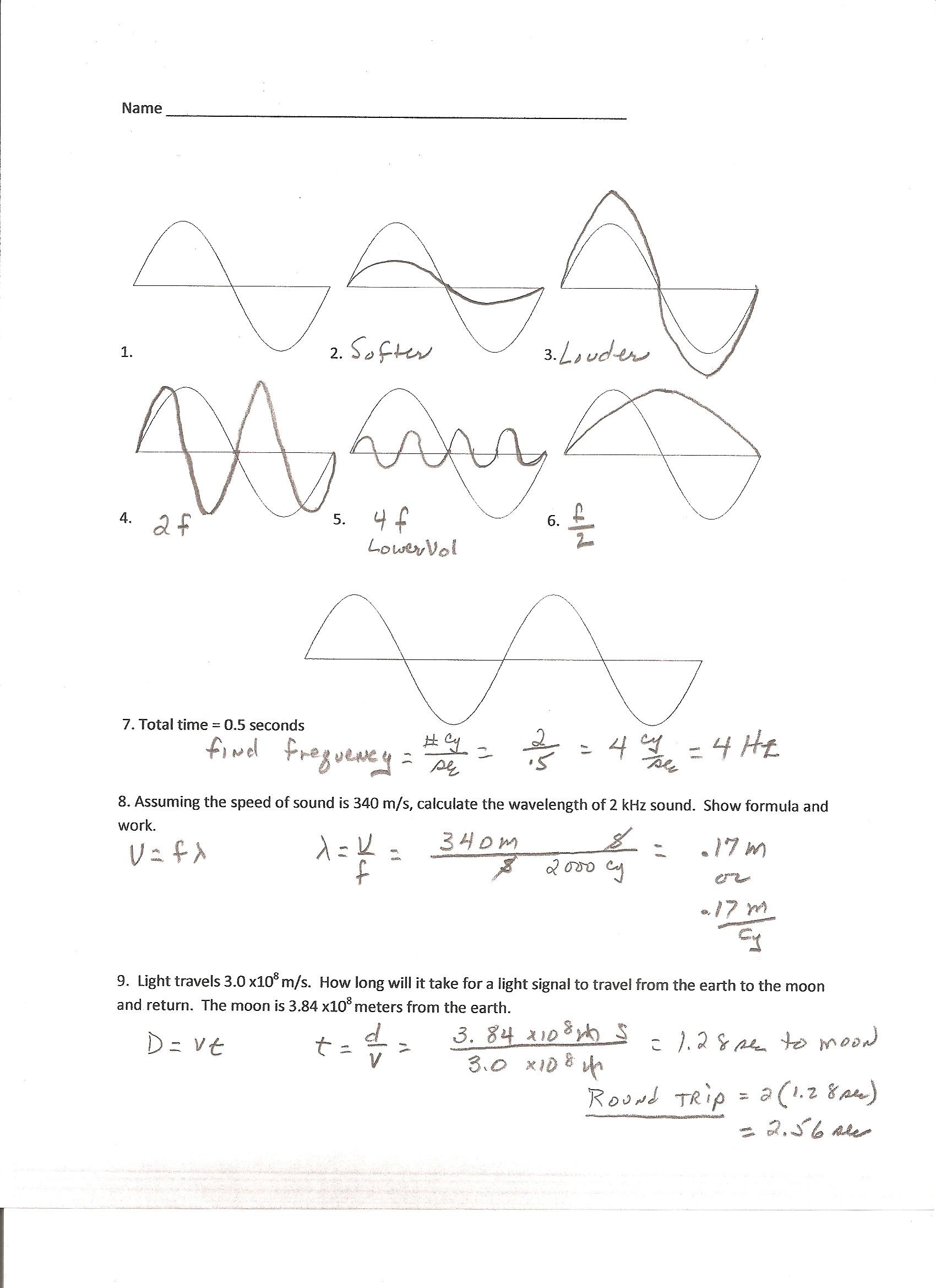 Wave Worksheet Answer Key
