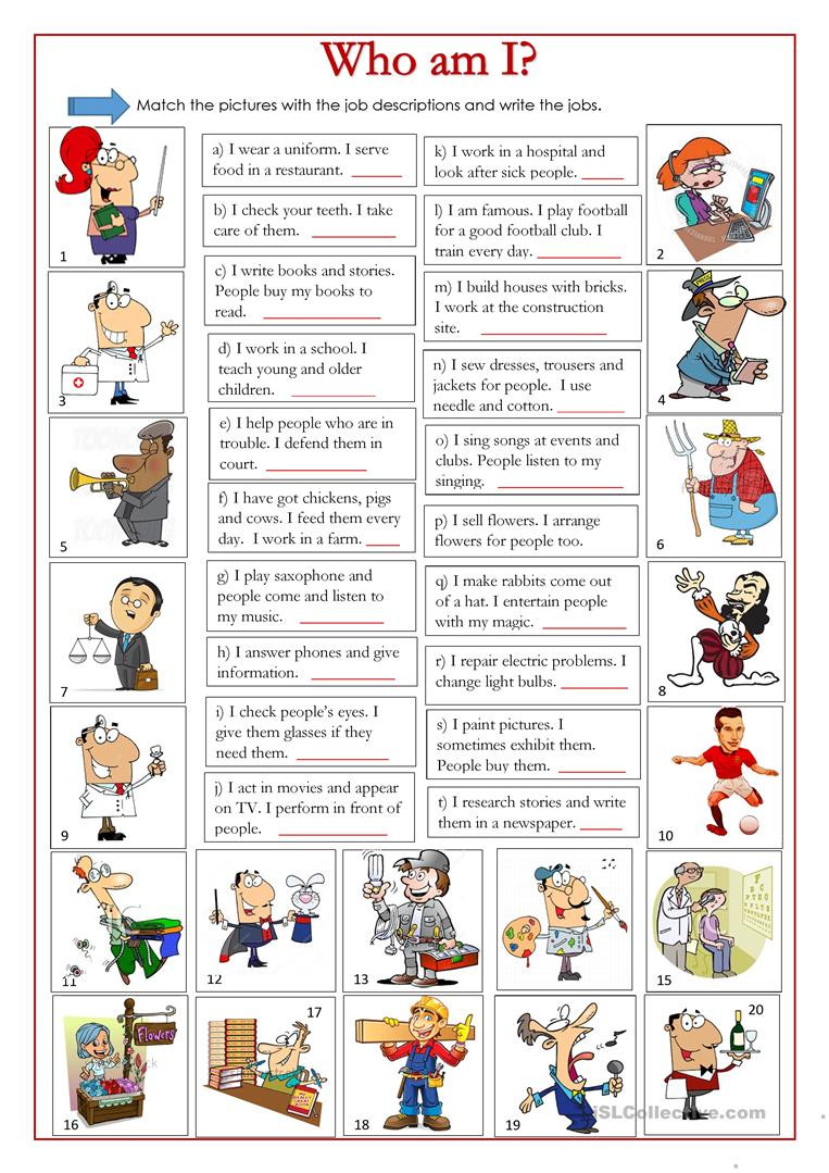 Who am I English ESL Worksheets for distance learning and