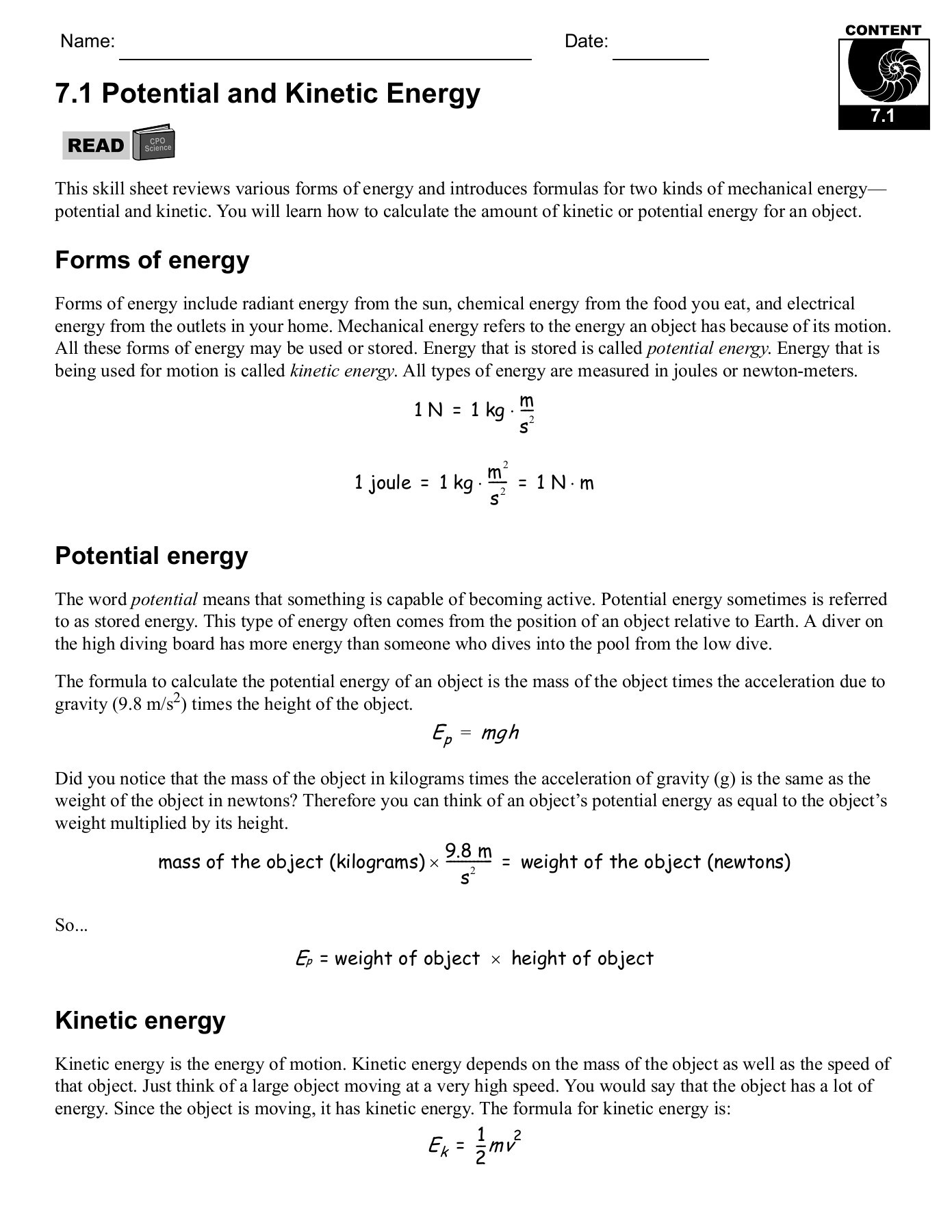 Work and Energy Worksheet Answers