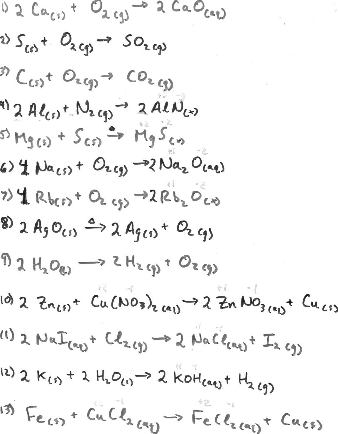 Worksheet Balancing Equations Answers