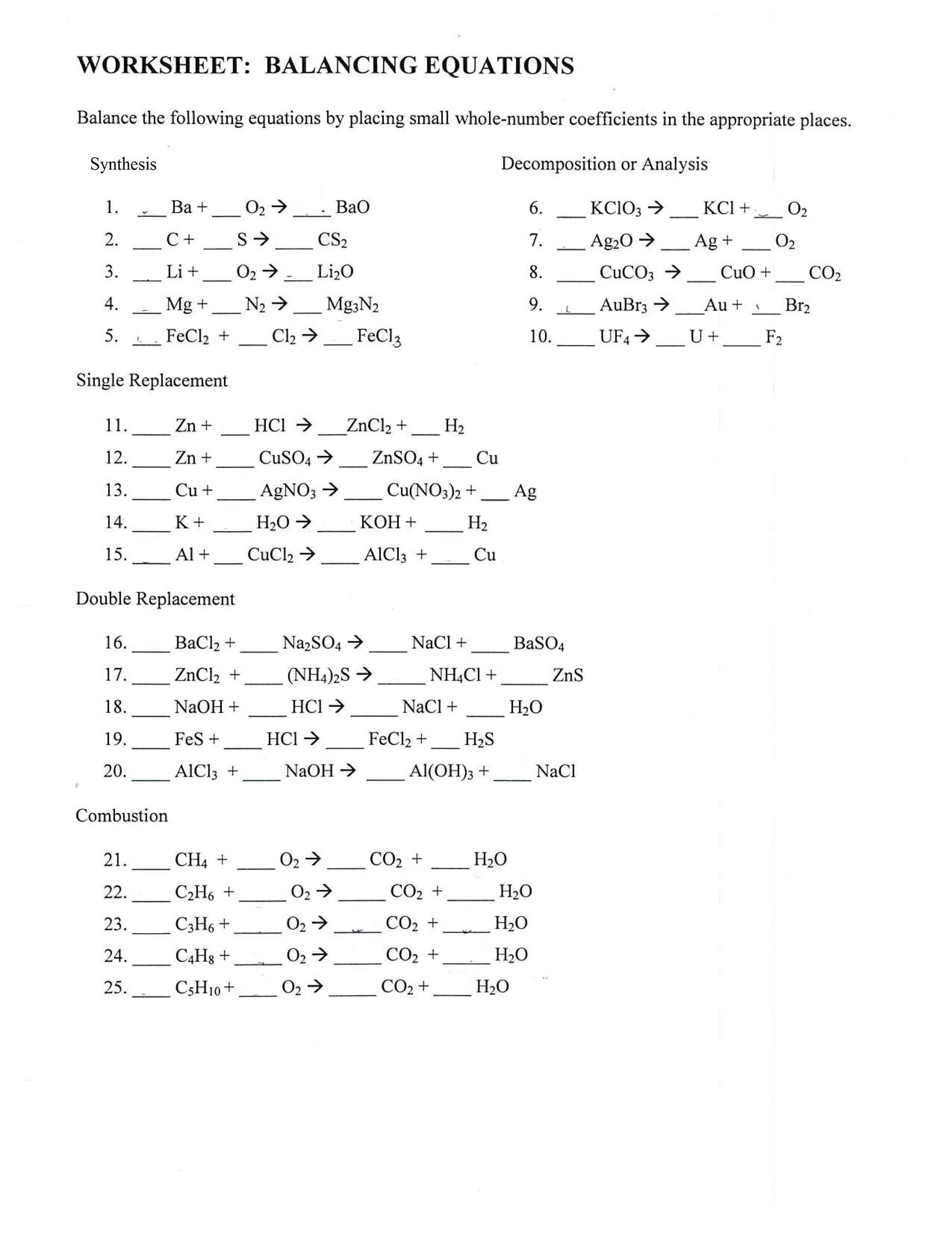 Worksheet Balancing Equations Answers