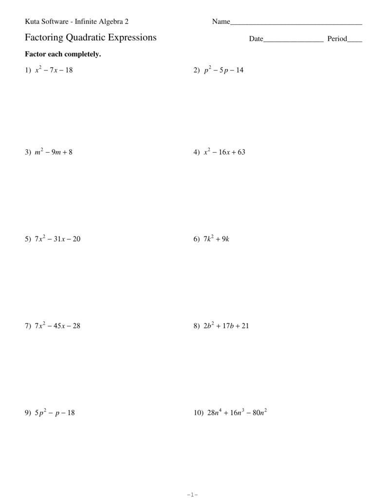 Worksheet Factoring Trinomials Answers