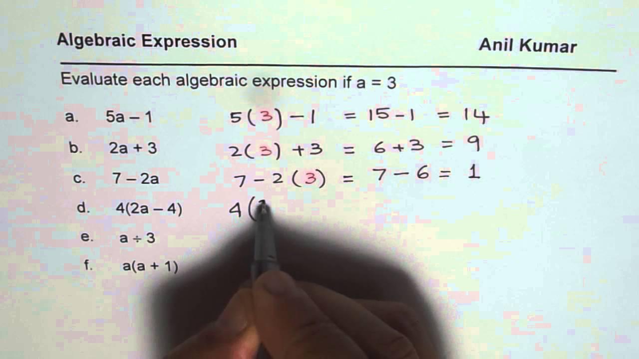 Writing Algebraic Expressions Worksheet