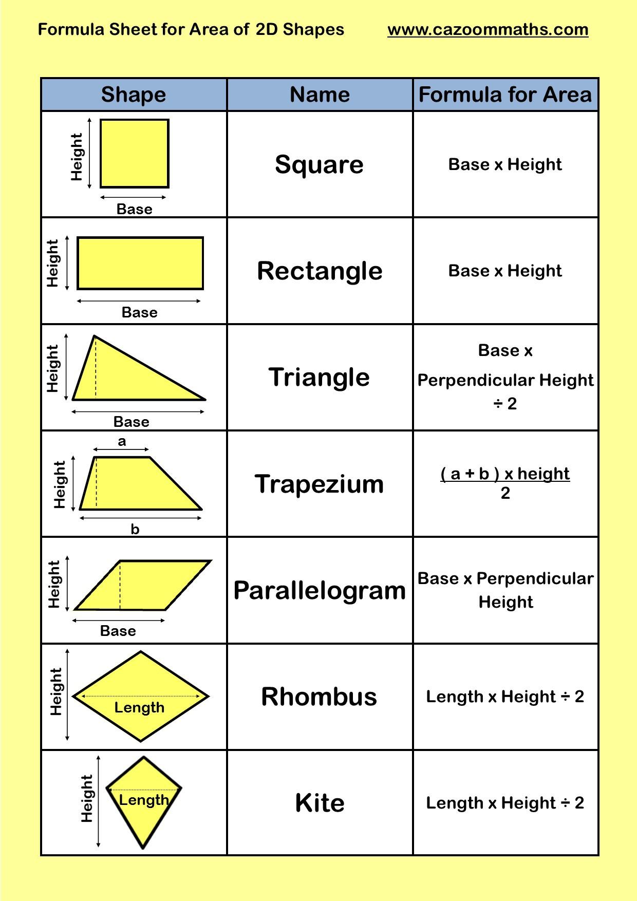 2 Dimensional Shapes Worksheet