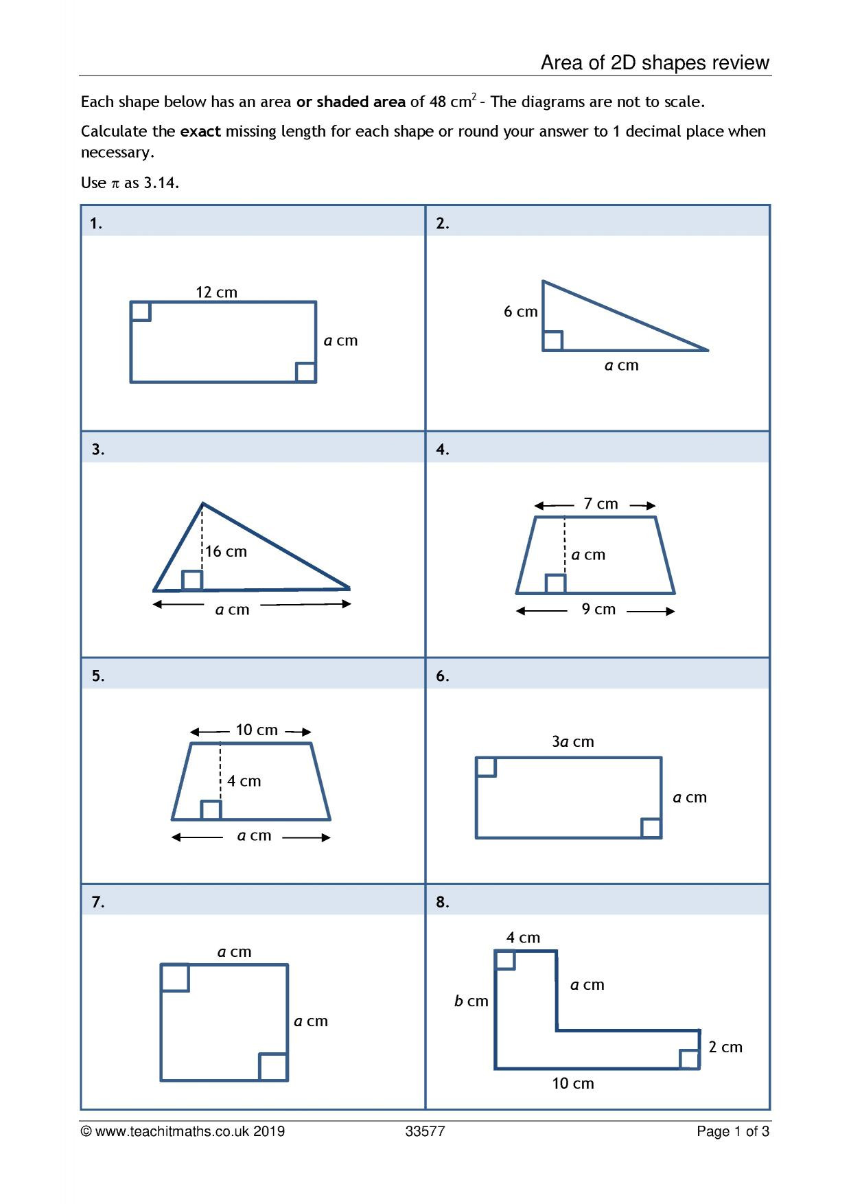 2 Dimensional Shapes Worksheet