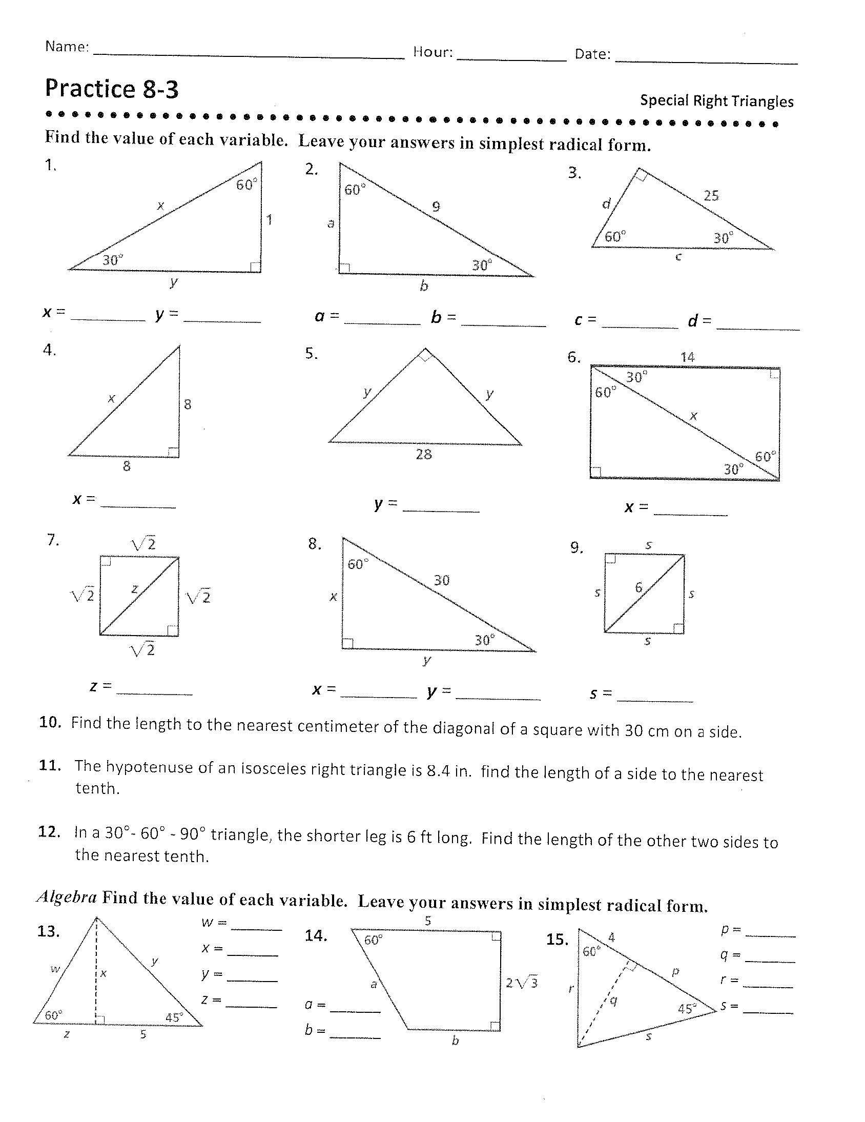 30 60 90 Triangles Worksheet