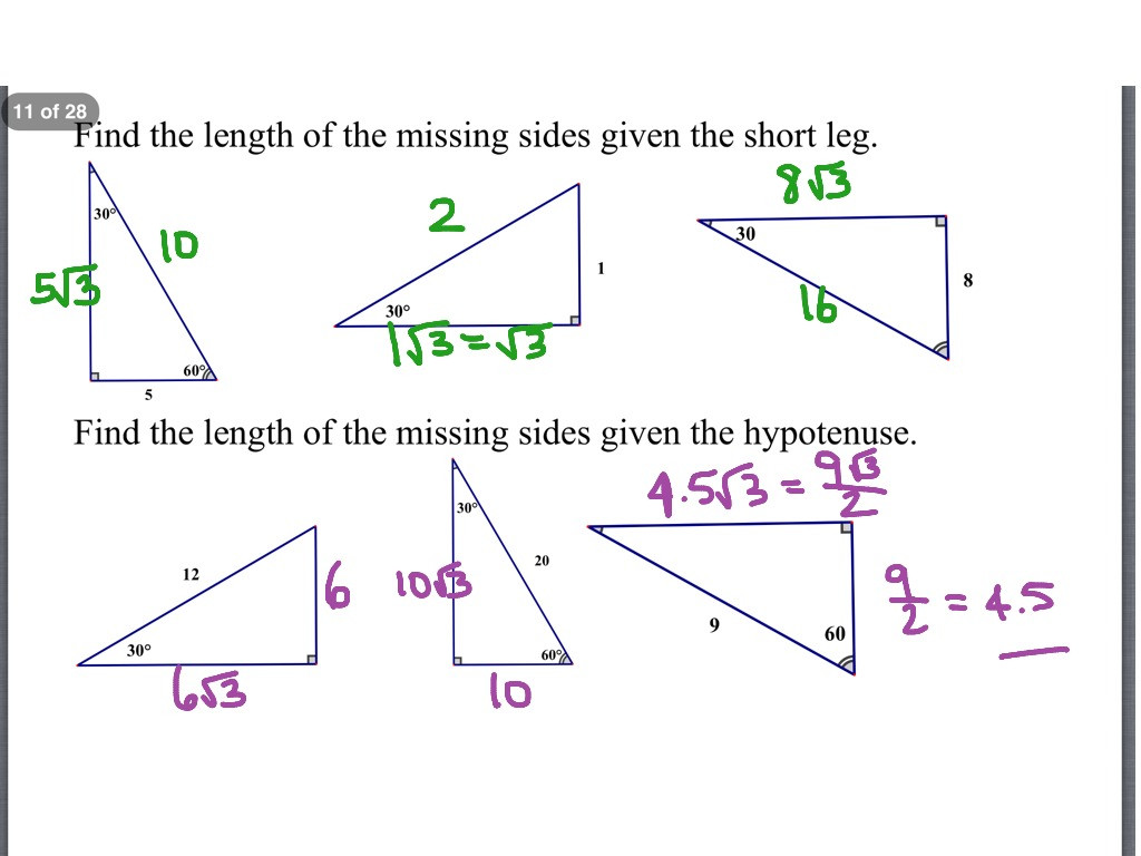 Worksheet 72 Special Right Triangles