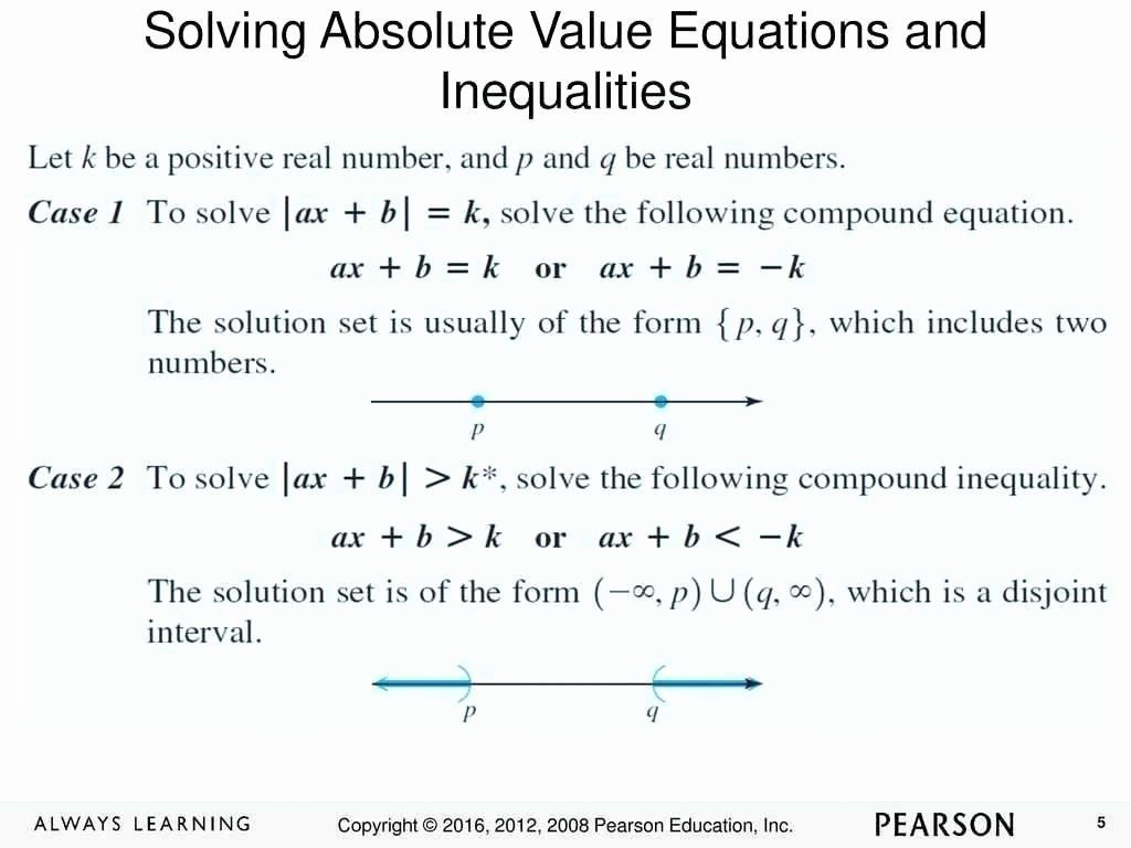Absolute Value Inequalities Worksheet Answers New solving