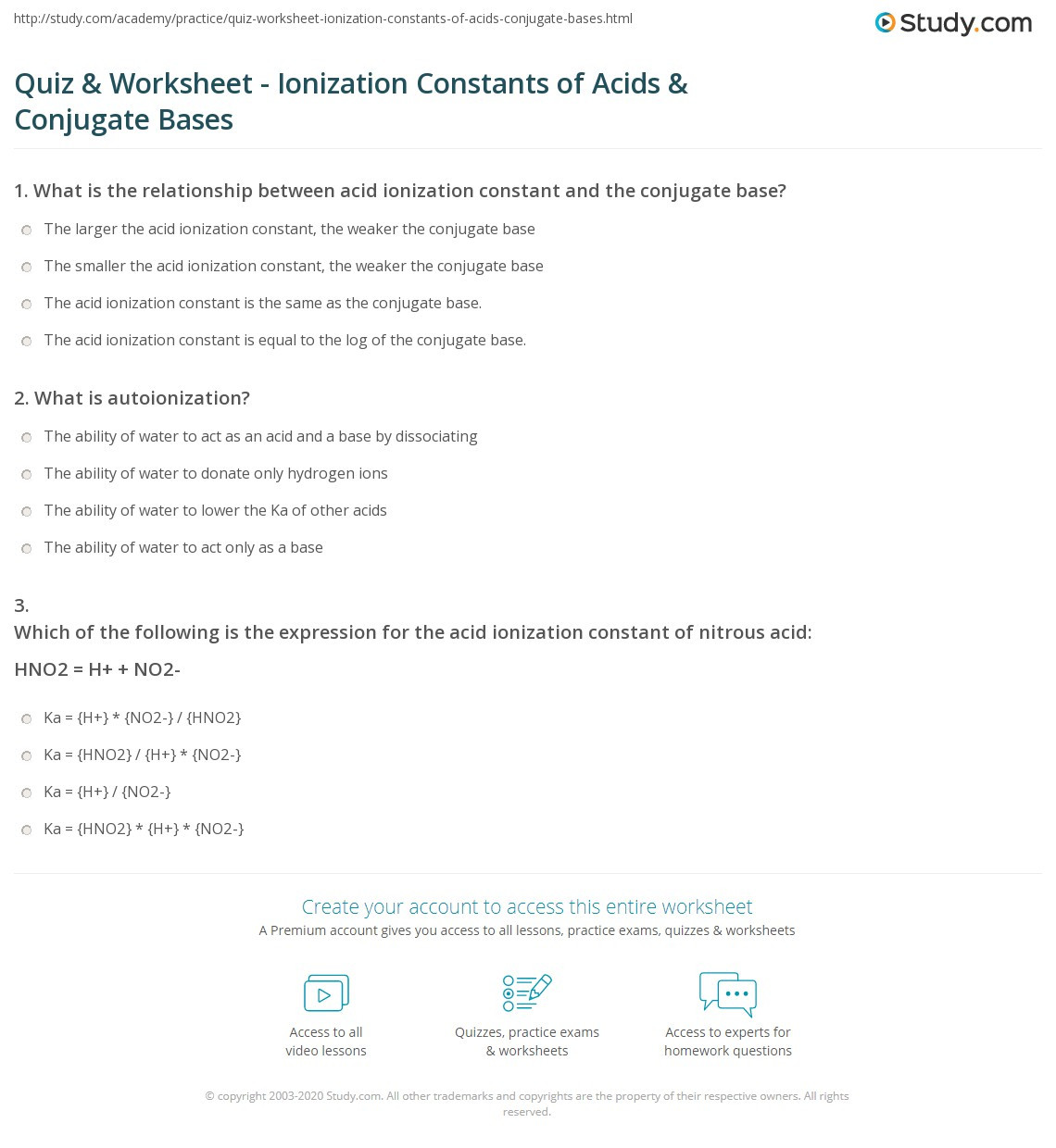 Acid and Bases Worksheet Answers