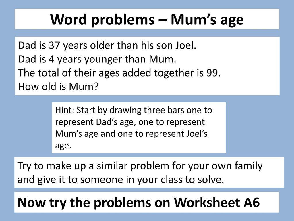 Age Word Problems Worksheet