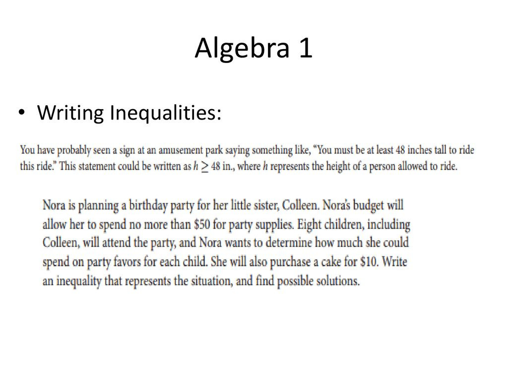 Algebra 1 Inequalities Worksheet