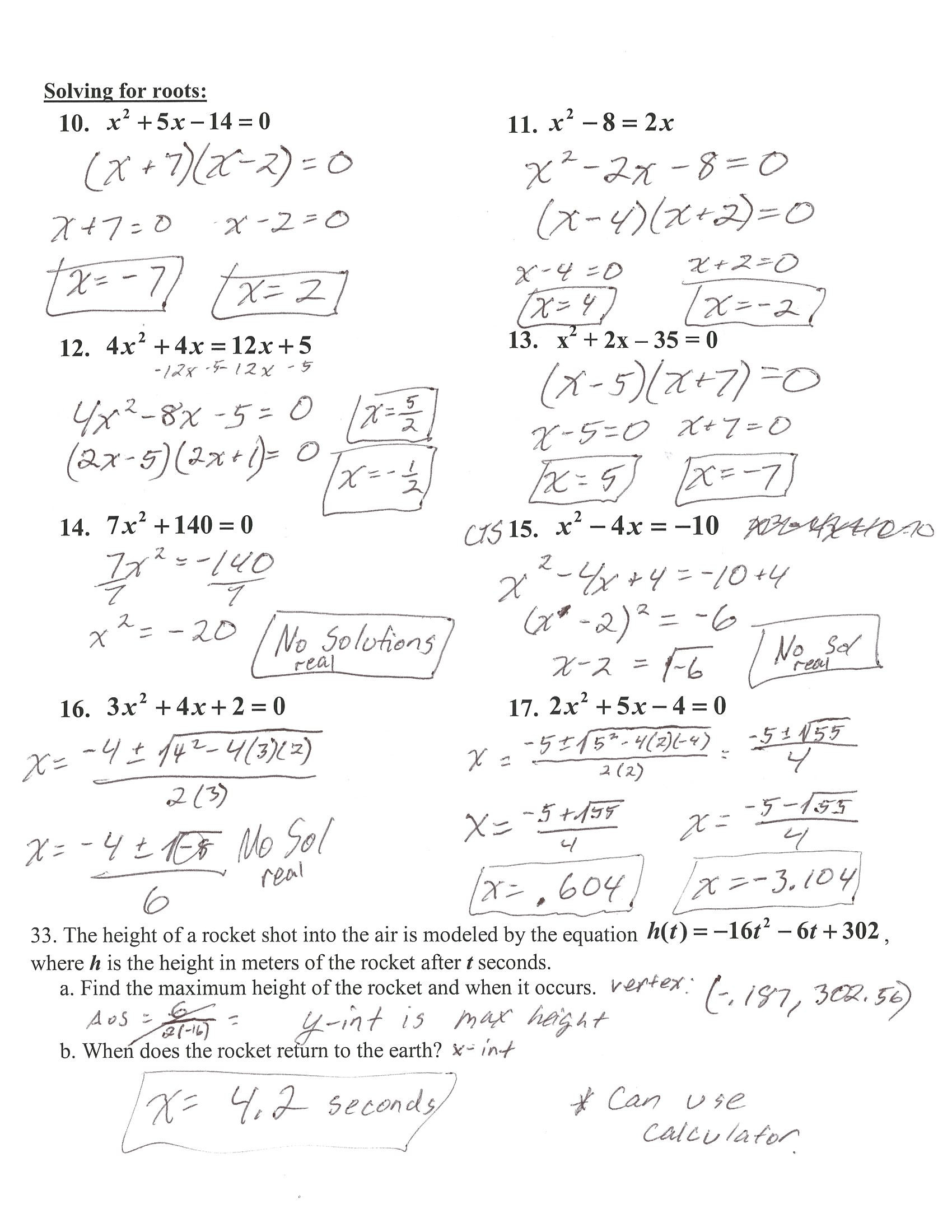 Algebra 1 Review Worksheet