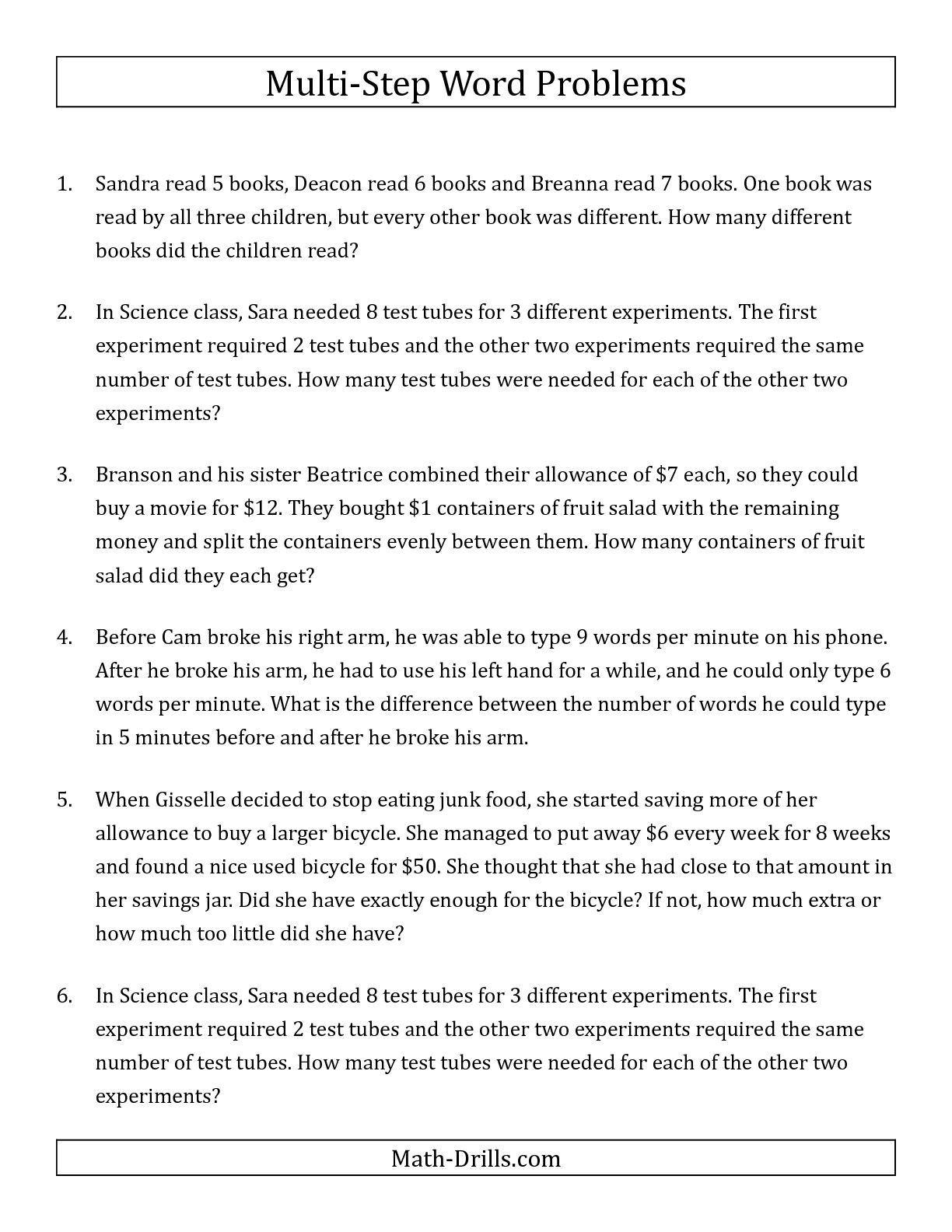 Algebra Word Problems Worksheet Pdf