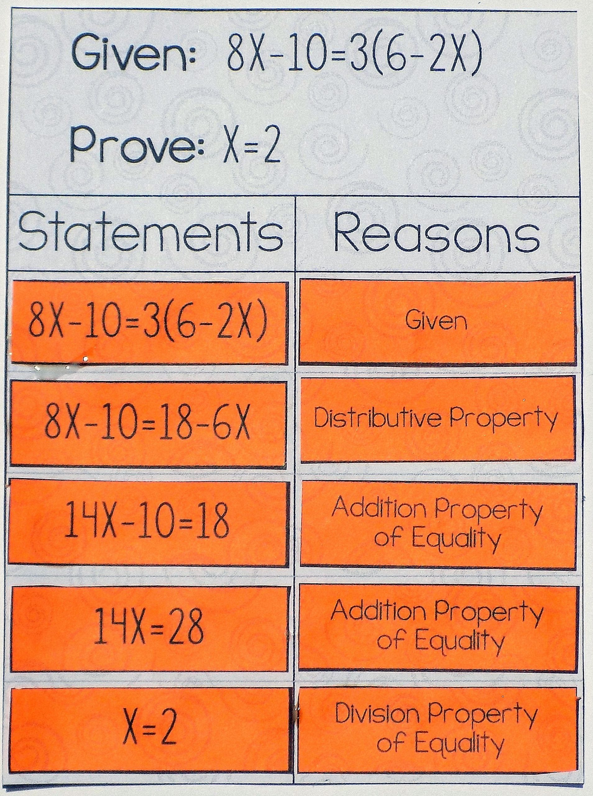 Algebraic Proofs Worksheet with Answers
