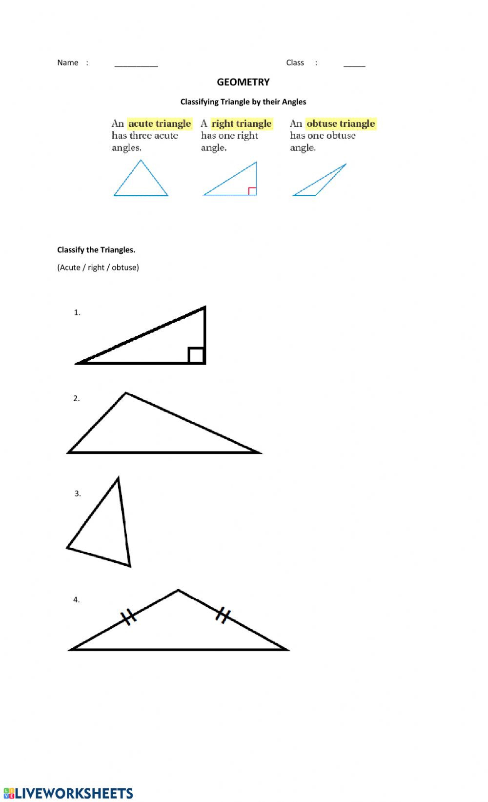 Angles In A Triangle Worksheet