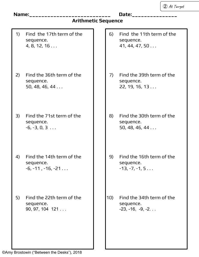 Arithmetic Sequence Practice at 3 Levels