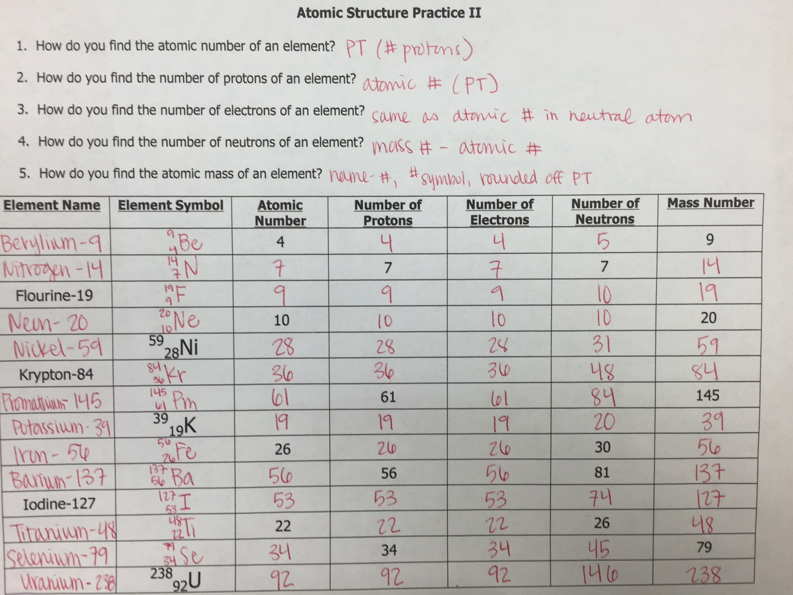 30 atomic Structure Worksheet Answers Key | Education Template