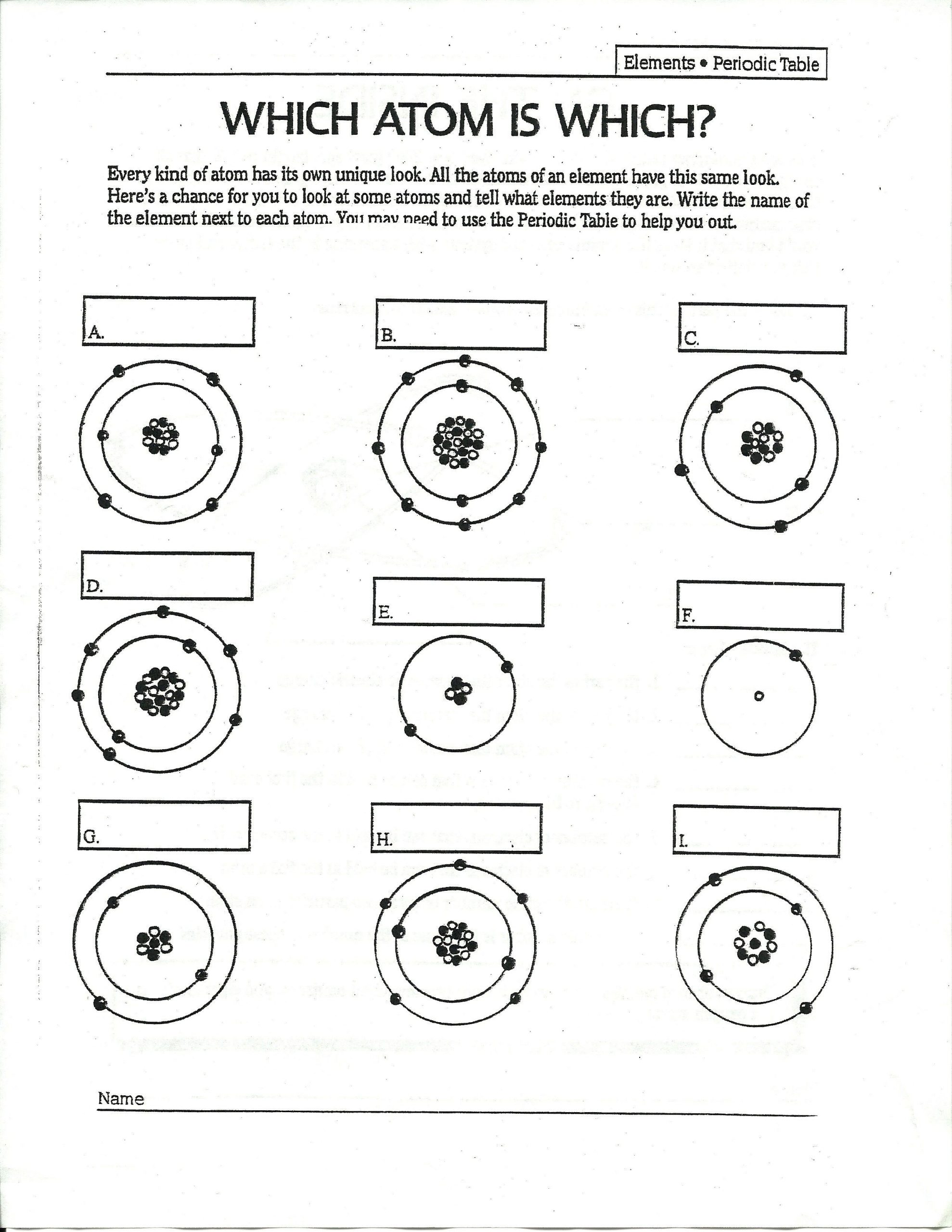 Atoms and Elements Worksheet