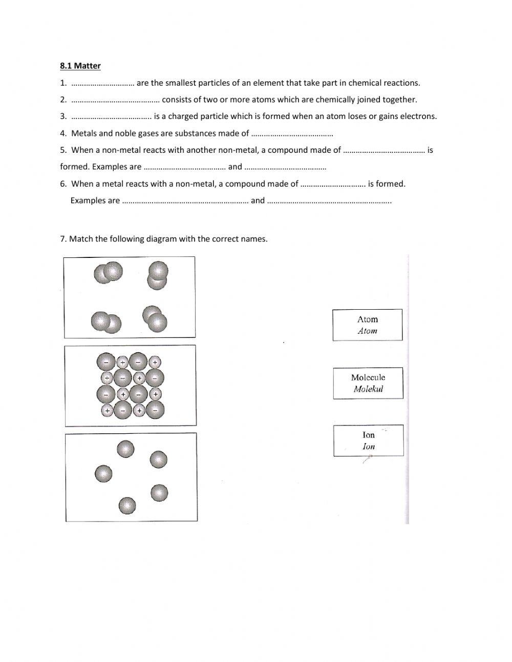 Atoms and Ions Worksheet