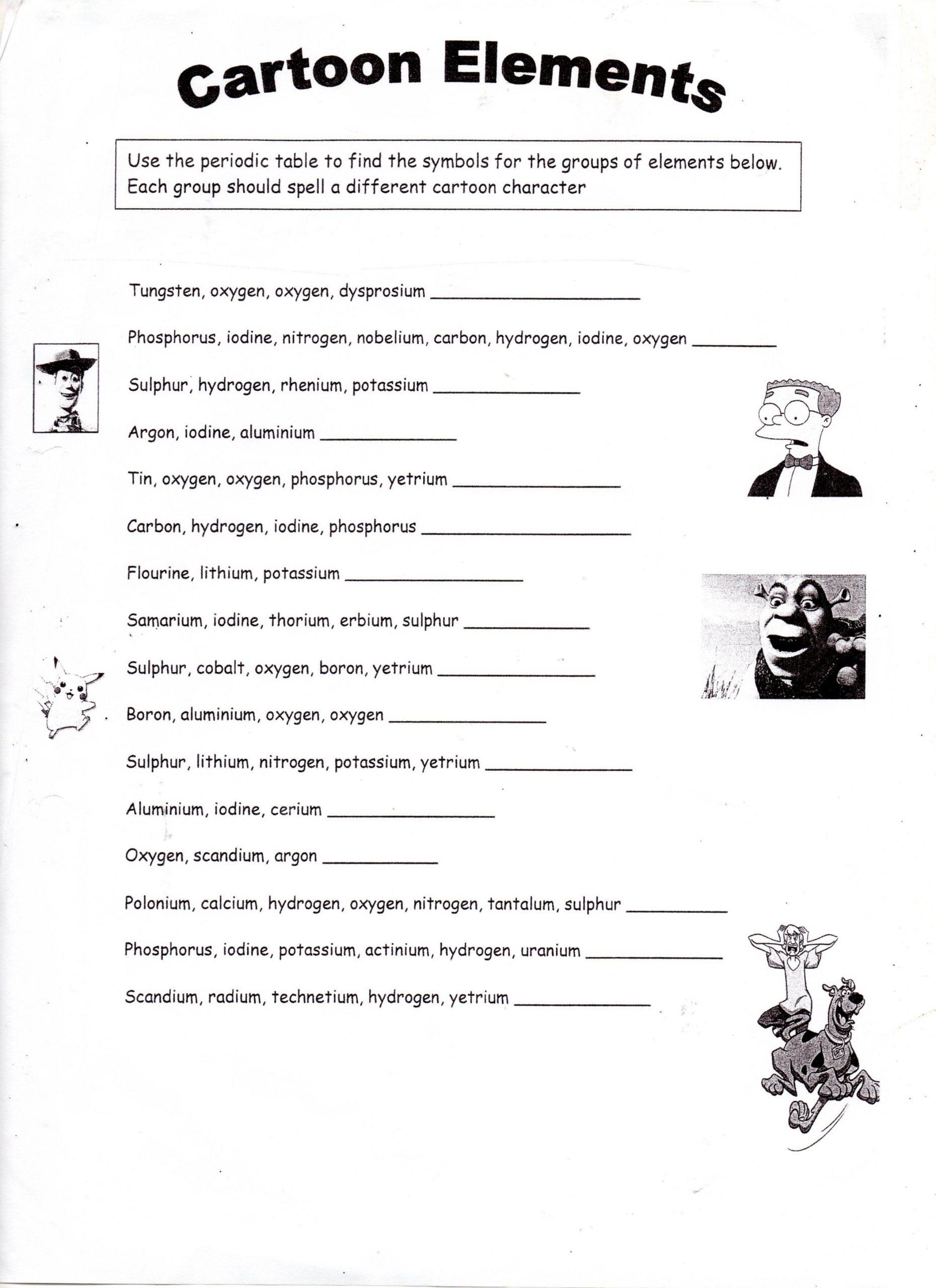 Atoms Worksheet Middle School