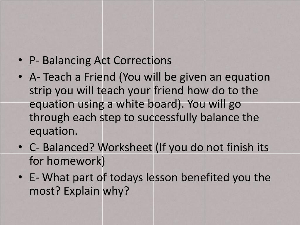 Balancing Act Worksheet Answers