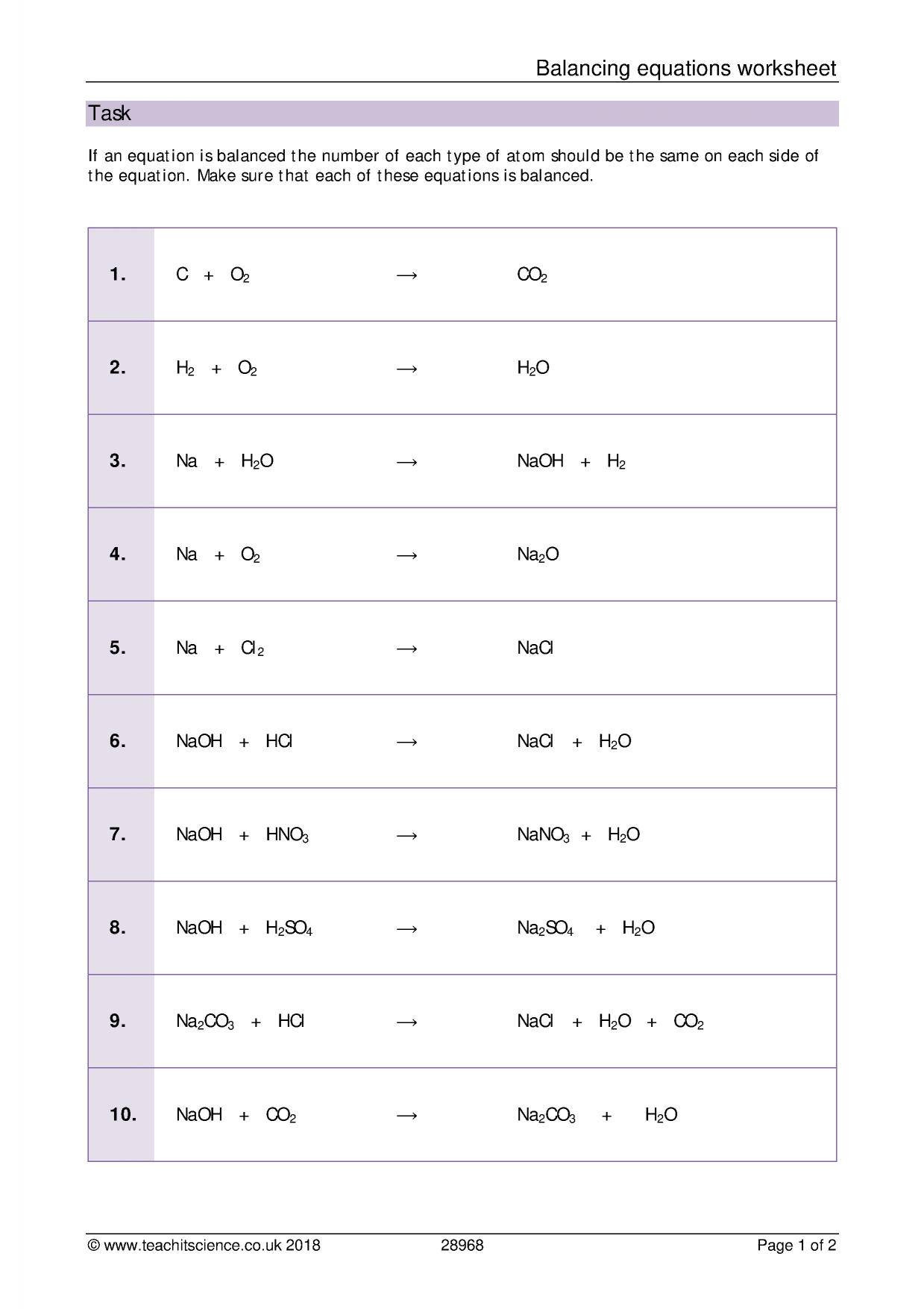 Balancing Equations Worksheet Answer Key