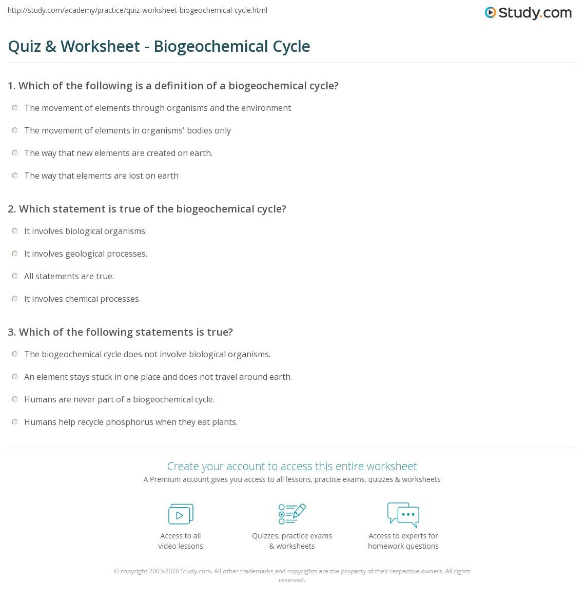 Quiz & Worksheet Biogeochemical Cycle