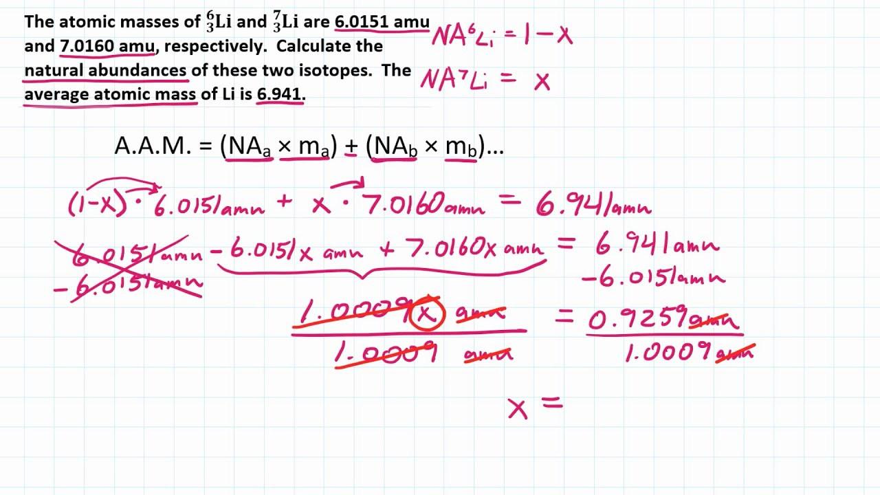 Calculating Average atomic Mass Worksheet