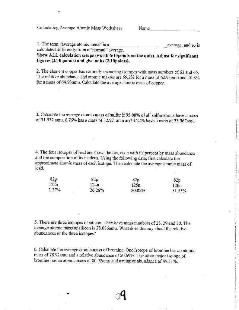 Unit 6 Calculating Average Atomic Mass Worksheet cglass