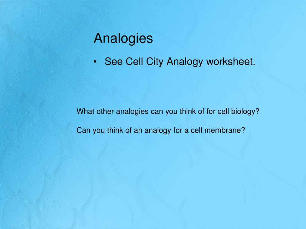 Cell City Analogy Worksheet