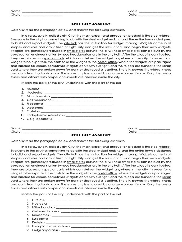 Cell City Analogy Worksheet Answers