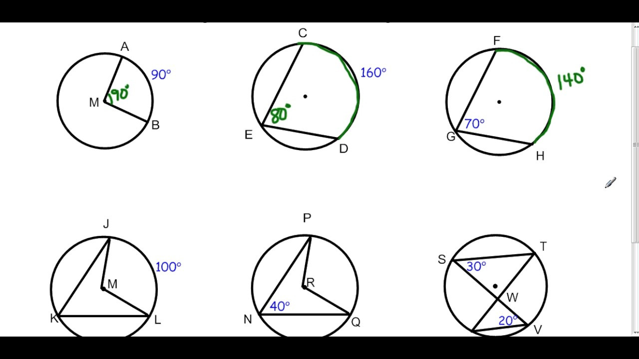 Central and Inscribed Angle Worksheet