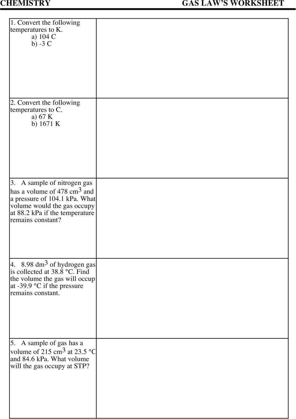 Charles Law Worksheet Answers