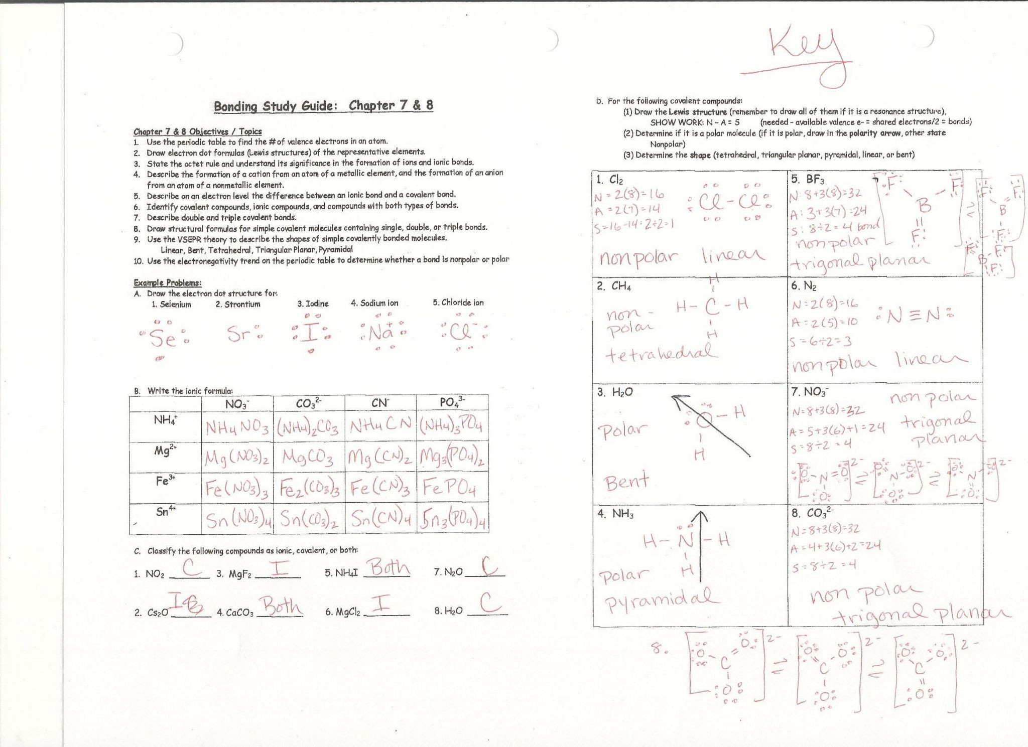 Chemical Bonding Worksheet Answers