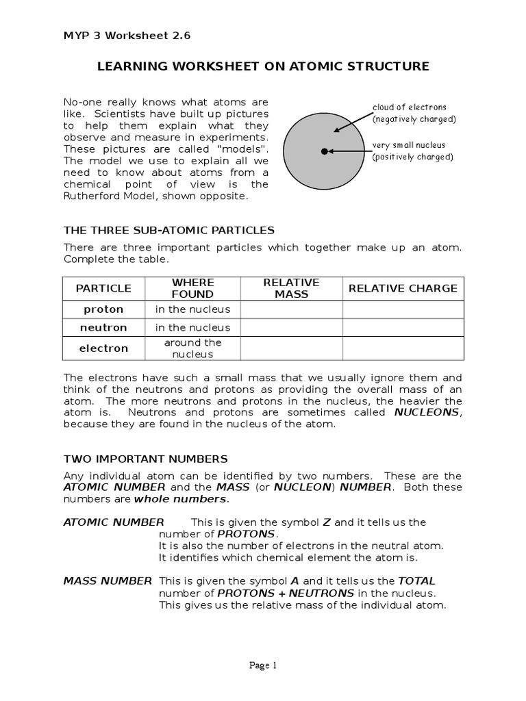 Chemistry atomic Structure Worksheet