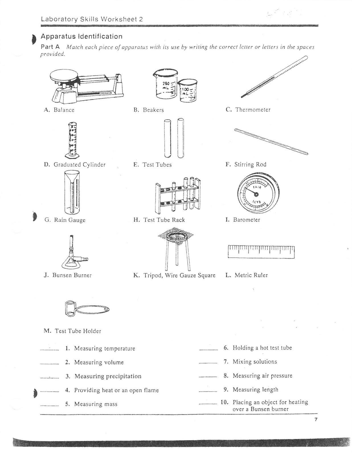 Chemistry Lab Equipment Worksheet