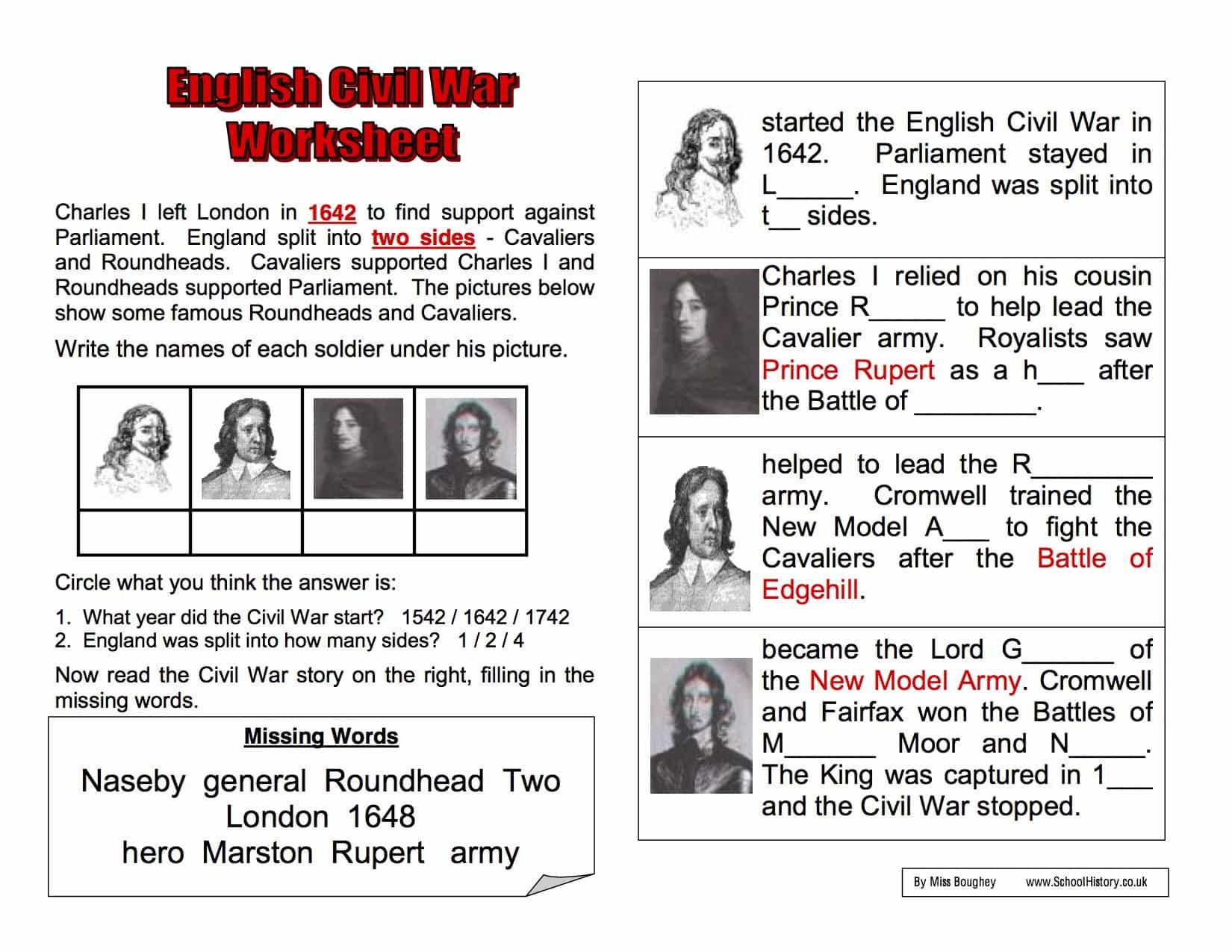 Civil War Worksheet Pdf