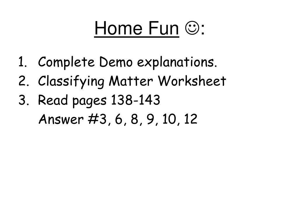 Classifying Matter Worksheet Answer Key