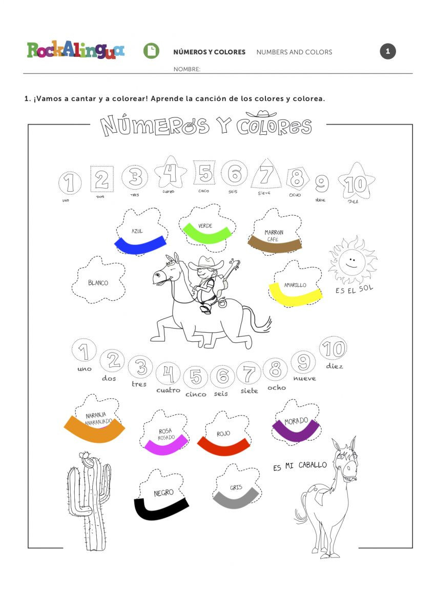 Numbers and Colors Song in Spanish for Kids
