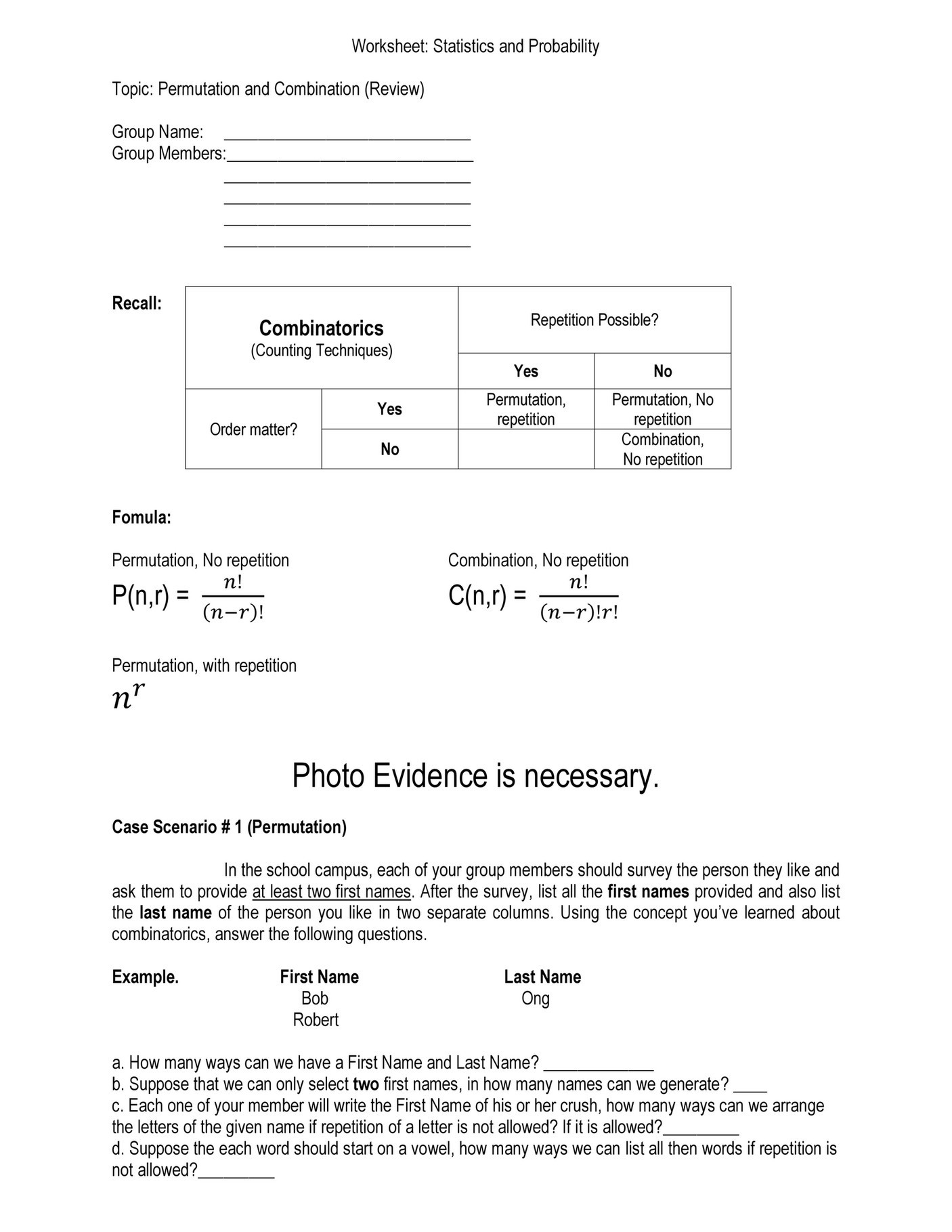 Combinations and Permutations Worksheet