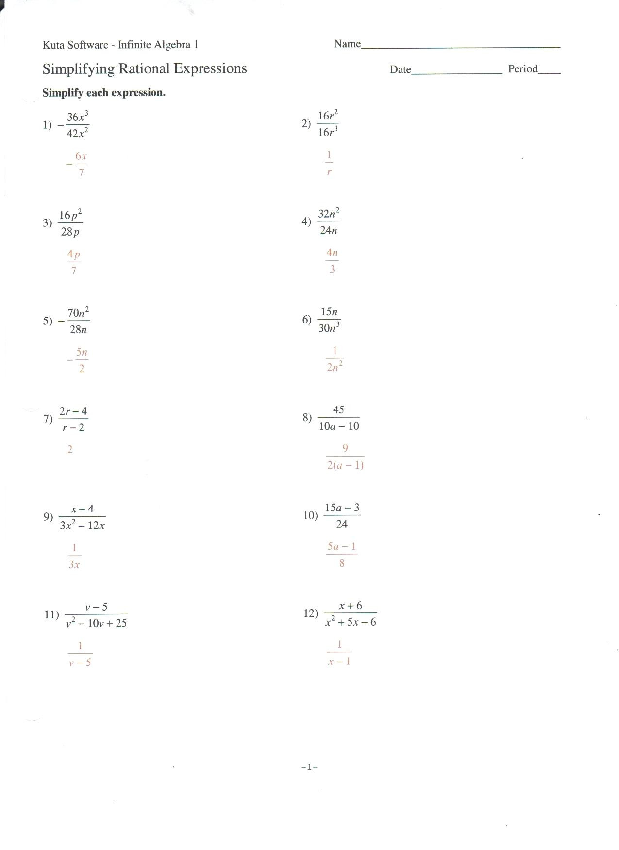 Combining Like Terms Equations Worksheet