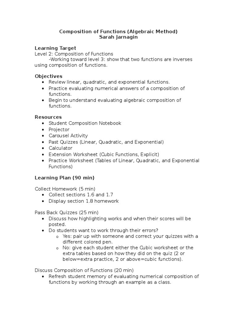 Composition Of Functions Worksheet