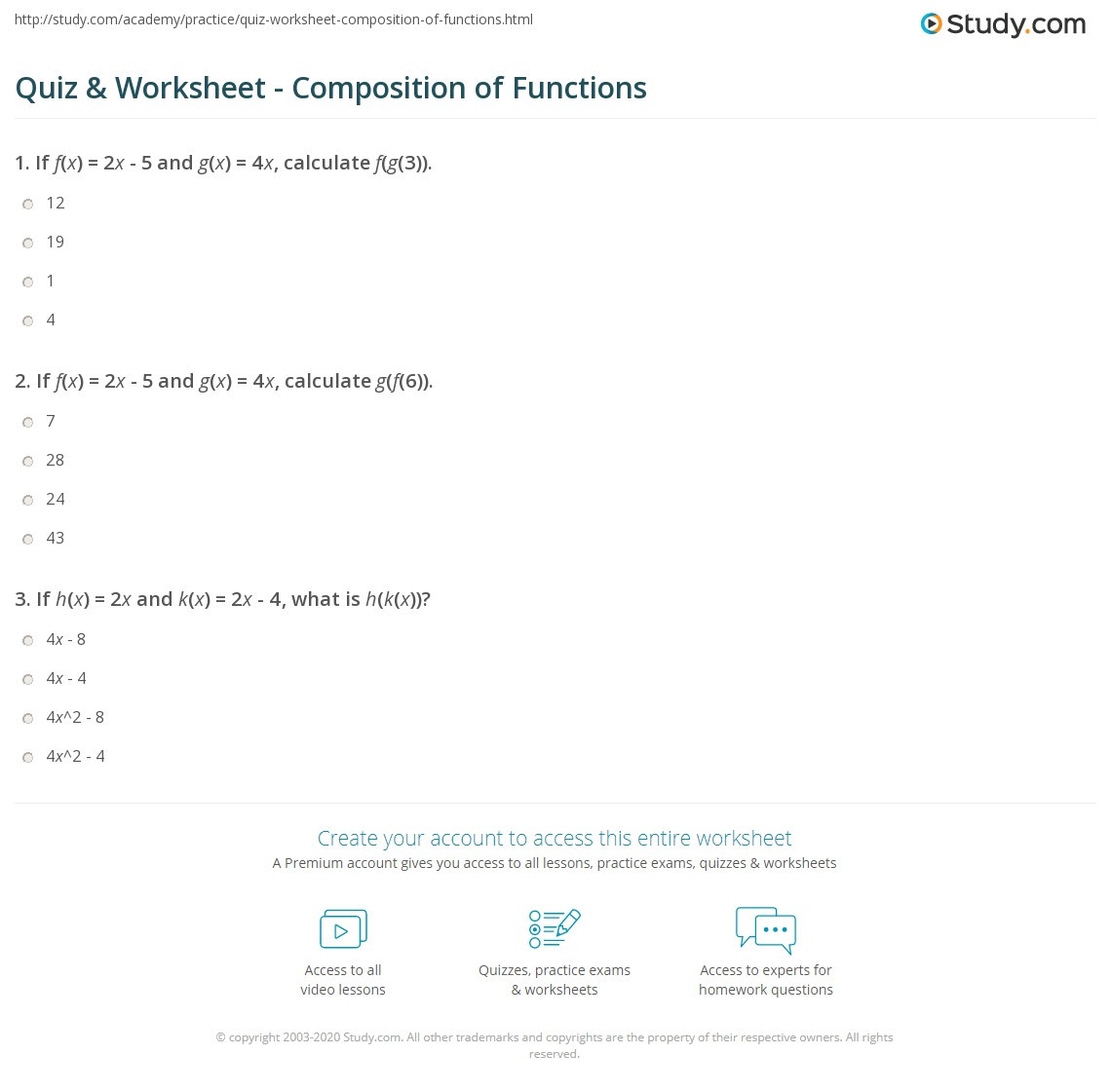 Quiz & Worksheet position of Functions